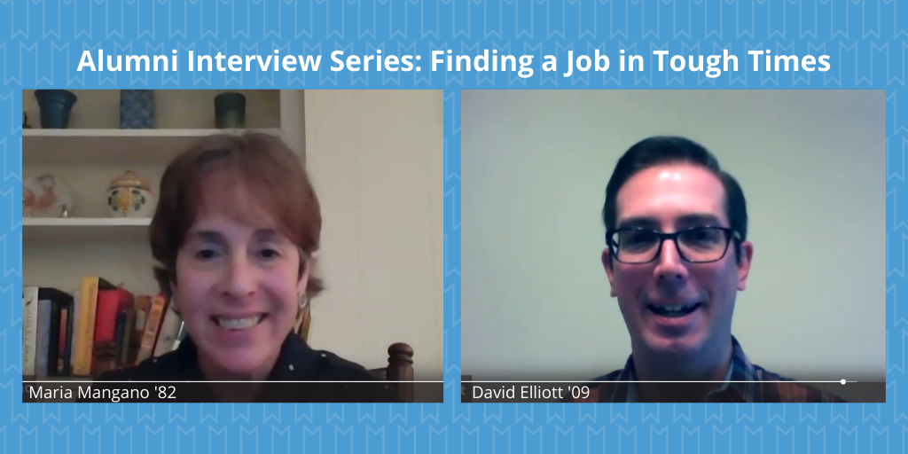 """Video conference between two people, """"Alumni Interview Series: Finding a Job in Tough Times"""""""